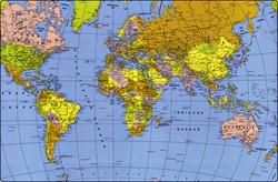 Onderlegger Kangaro 38x58cm wereldkaart