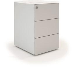 Ladeblokken op bureauhoogte - alugrijs met wit topblad