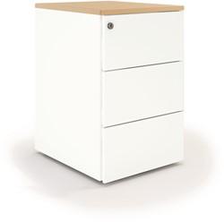 Ladeblokken op bureauhoogte - wit met lichteiken topblad