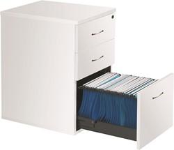 Ladeblokken op bureauhoogte 3 laden D. 60 cm - wit