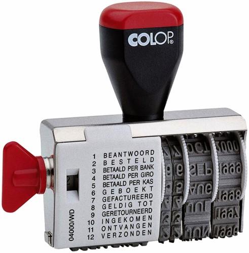 Woord-datumstempel Colop 04000 met 12 teksten