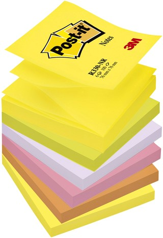 Memoblok 3M Post-it Z-Note R330RAI 76x76mm neon rainbow