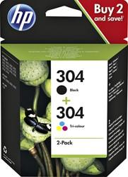 Inkcartridge HP 3JB05AE 304 zwart + kleur