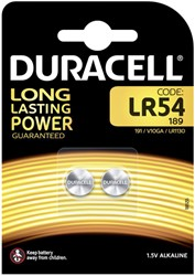 Batterij Duracell knoopcel LR54 alkaline Ø11,6mm 2 stuks