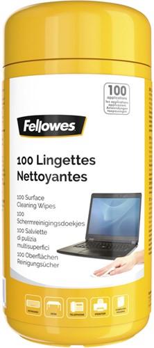 Reinigingsdoekjes Fellowes oppervlakte dispenser 100stuks