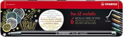 Viltstift Stabilo 6806/8-32 Metallic assorti metalen etui à 6 stuks