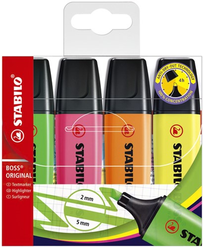 Markeerstift STABILO Boss Original  70/4 etui  à 4 kleuren