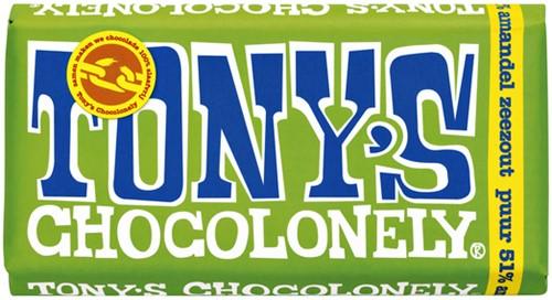 Chocolade Tony's Chocolonely reep 180gr puur amandel zeezout