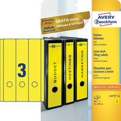 Rugetiket Avery breed/lang 61x297mm zelfklevend geel