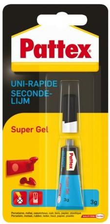 Secondelijm Pattex super gel tube 3gram op blister