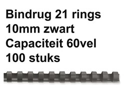 Bindrug Fellowes 10mm 21rings A4 zwart 100stuks