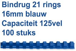 Bindrug Fellowes 16mm 21rings A4 blauw 100stuks