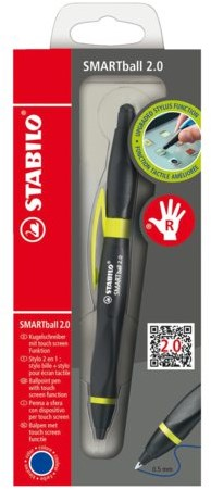 Balpen STABILO Smartball rechtshandig zwart/kiwi blister
