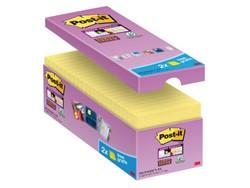 Memoblok 3M Post-it 654-P16 Super Sticky 76x76mm geel 14+2 gratis