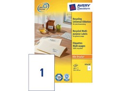 Etiket Avery LR3478 210x297mm A4 recycled wit 100stuks