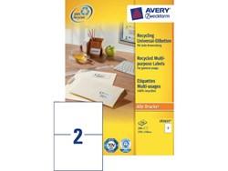 Etiket Avery LR3655 210x148mm A5 recycled wit 200stuks