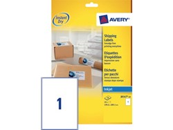 Etiket Avery J8167-10 199.6x289.1mm wit 10stuks