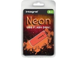 USB-stick 2.0 Integral 8GB neon oranje