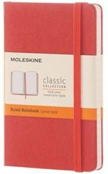 Notitieboek Moleskine large 130x210mm lijn koraalrood