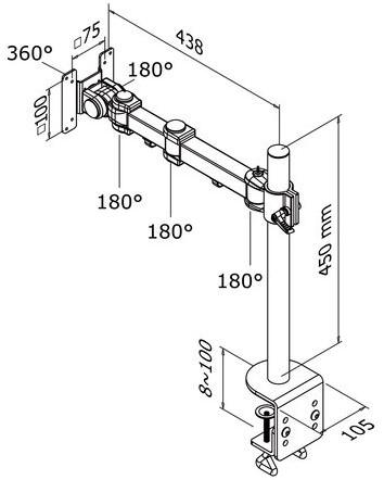Monitorarm Newstar D960 10 30 Met Klem Zwart