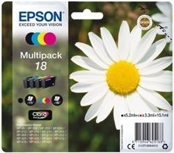 Inkcartridge Epson 18 T1806 zwart + 3 kleuren
