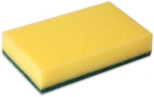Schuurspons geel/groen 9x15cm 10 stuks