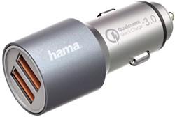 Autolader Hama 2XUSB 12-24V 4.8A snel grijs