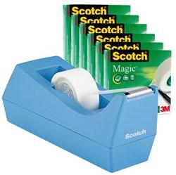 Plakbandhouder Scotch C38 blauw + 6rol magic tape 19mmx33m