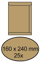 Envelop Clevermail akte C5 160x240mm 90gr bruin 25 stuks