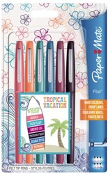 Fineliner Paper Mate Flair Candy Tropical 1.0mm set à 6stuks