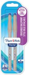 Balpen Paper Mate Replay eraser blauw medium 2 stuks