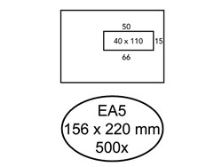 Envelop Hermes Digital EA5 156x220mm venster 4x11rechts zelf