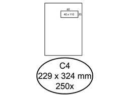 Envelop Hermes akte C4 229x324mm venster 4x11 rechts zelfkl 250st