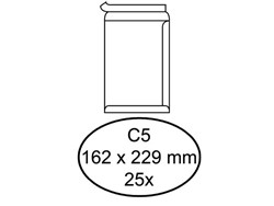Envelop Quantore akte C5 162x229mm zelfklevend wit 25stuks