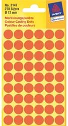Etiket Avery Zweckform 3147 rond 12mm lichtrood 270stuks