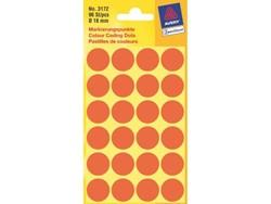 Etiket Avery Zweckform 3172 rond 18mm lichtrood 96stuks