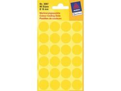 Etiket Avery Zweckform 3007 rond 18mm geel 96stuks