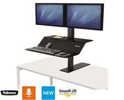 Zit-Sta werkplek Fellowes Lotus VE zwart voor twee monitoren